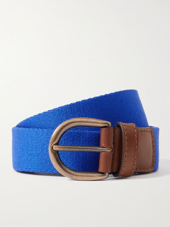 ANDERSON & SHEPPARD Leather-Trimmed Canvas Belt