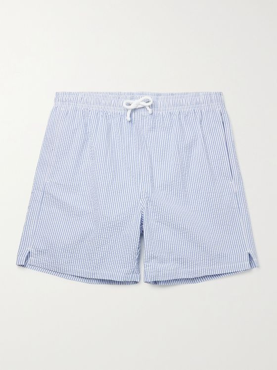 ANDERSON & SHEPPARD Mid-Length Striped Seersucker Swim Shorts