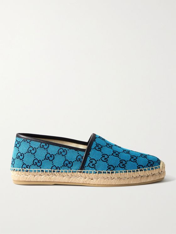 GUCCI Alejandro Leather-Trimmed Logo-Jacquard Canvas Espadrilles