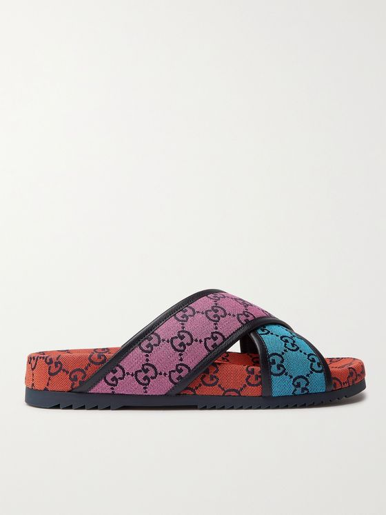 GUCCI Leather-Trimmed Monogrammed Canvas Sandals