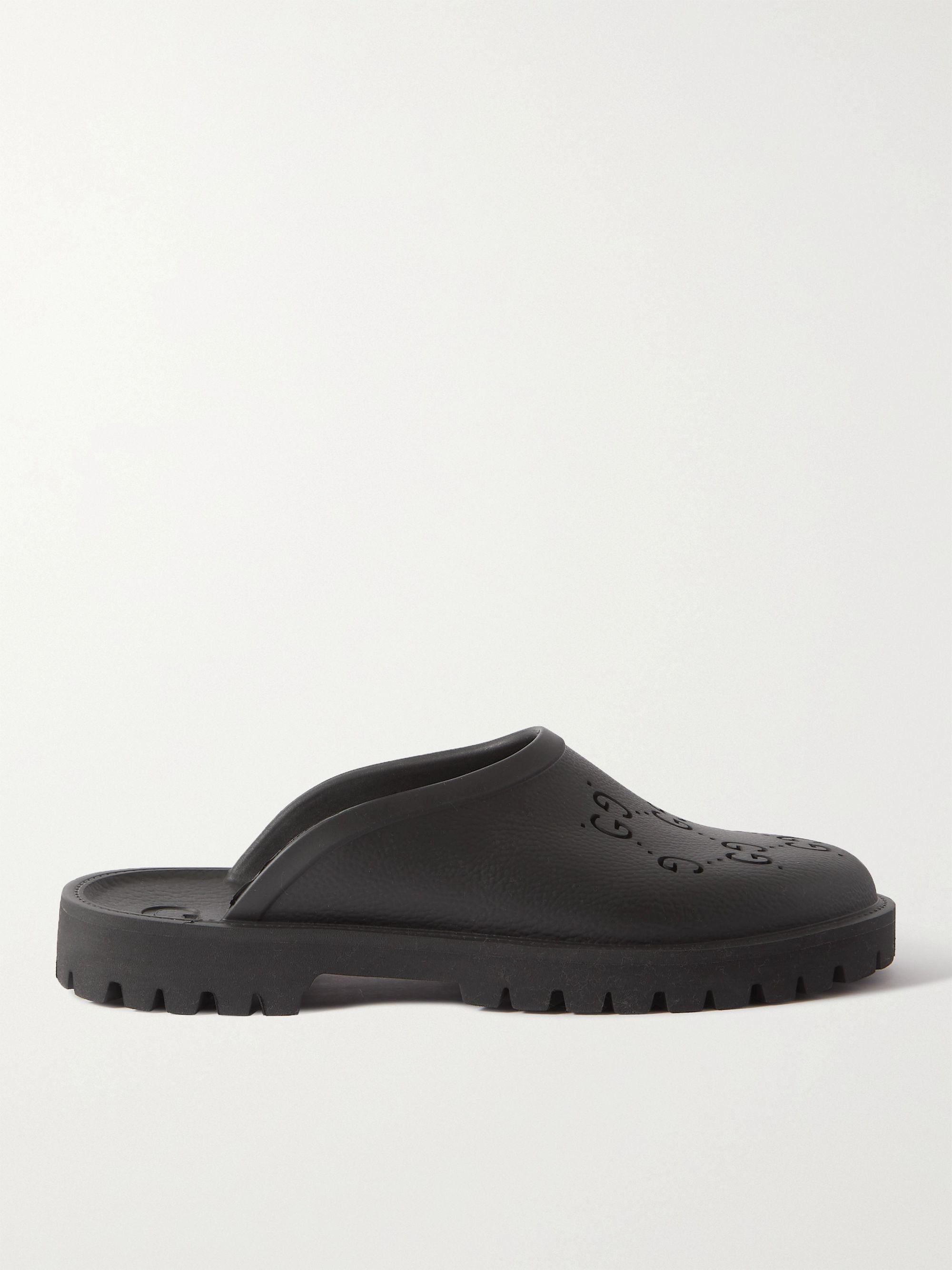 구찌 Gucci Logo-Perforated Rubber Slides,Black