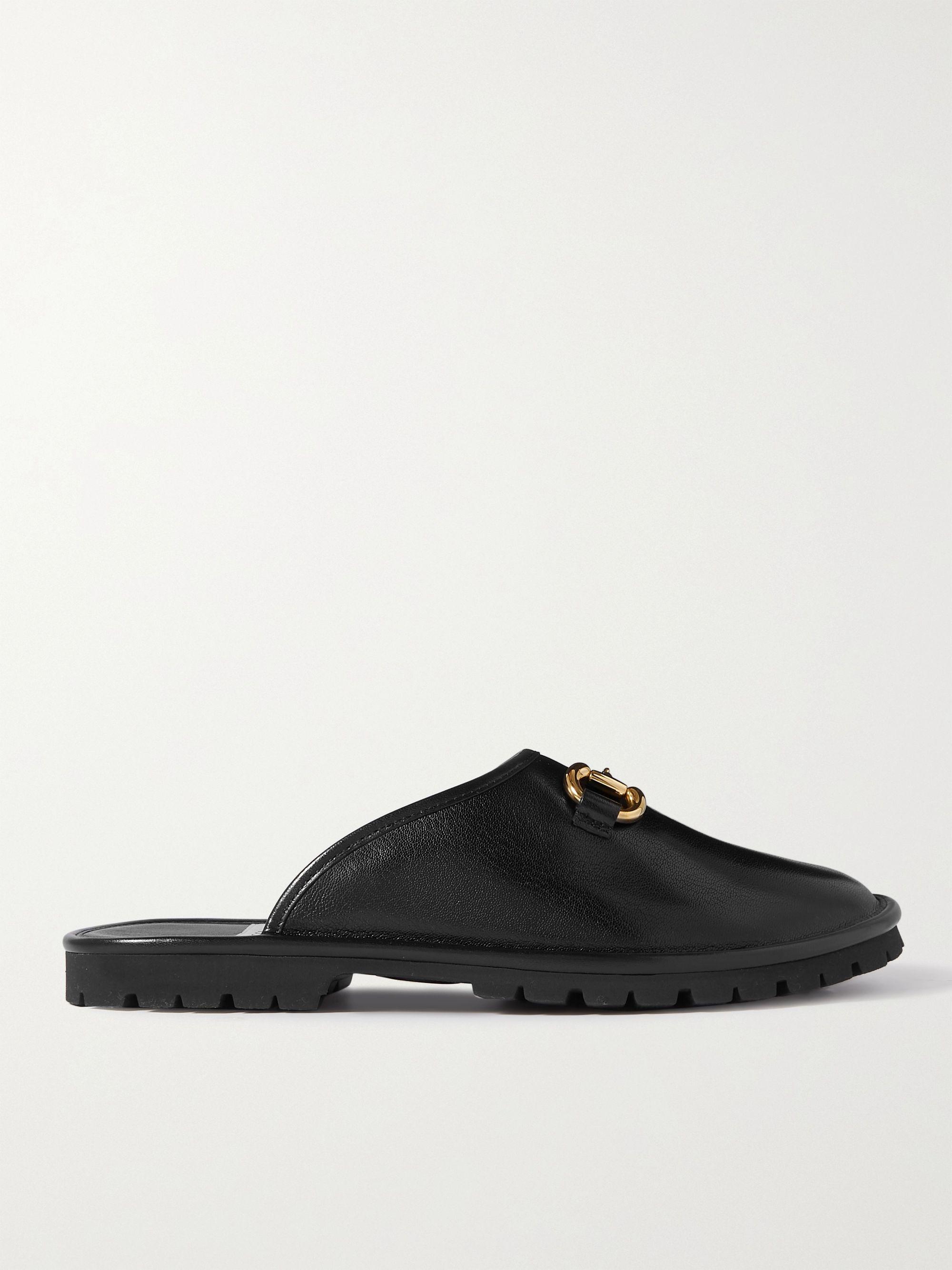 구찌 Gucci Elea Horsebit Leather Slides,Black