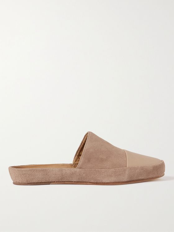 MULO Leather-Trimmed Suede Slippers