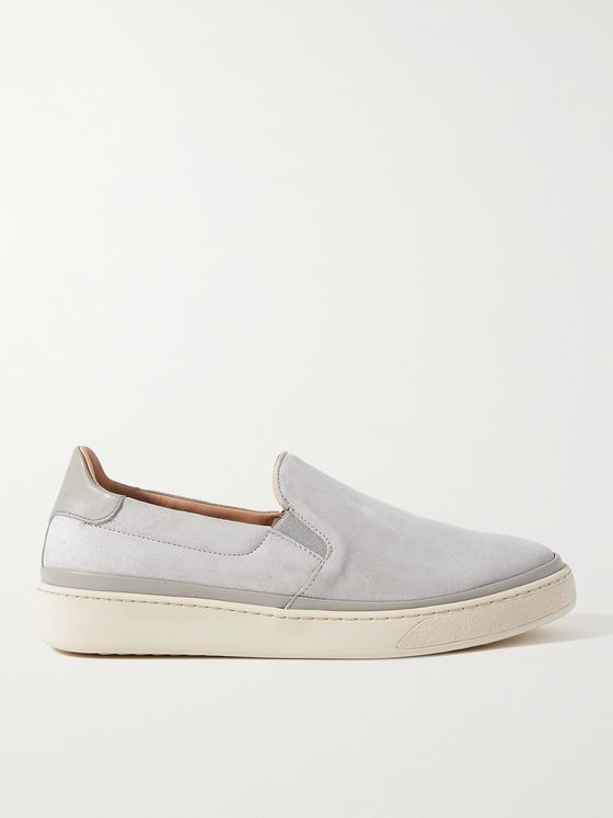 MULO Leather-Trimmed Suede Slip-On Sneakers