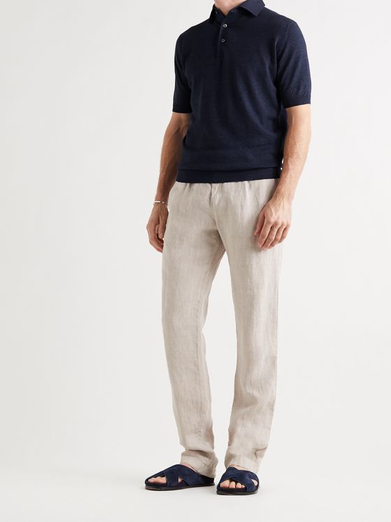 THOM SWEENEY Slim-Fit Mélange Linen and Cotton-Blend Polo Shirt