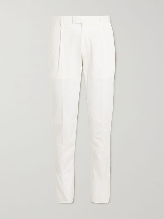 THOM SWEENEY Tapered Cotton-Blend Twill Chinos