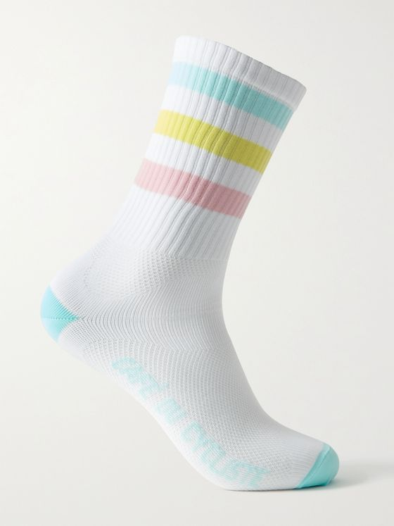 CAFE DU CYCLISTE Striped Logo-Jacquard Cycling Socks