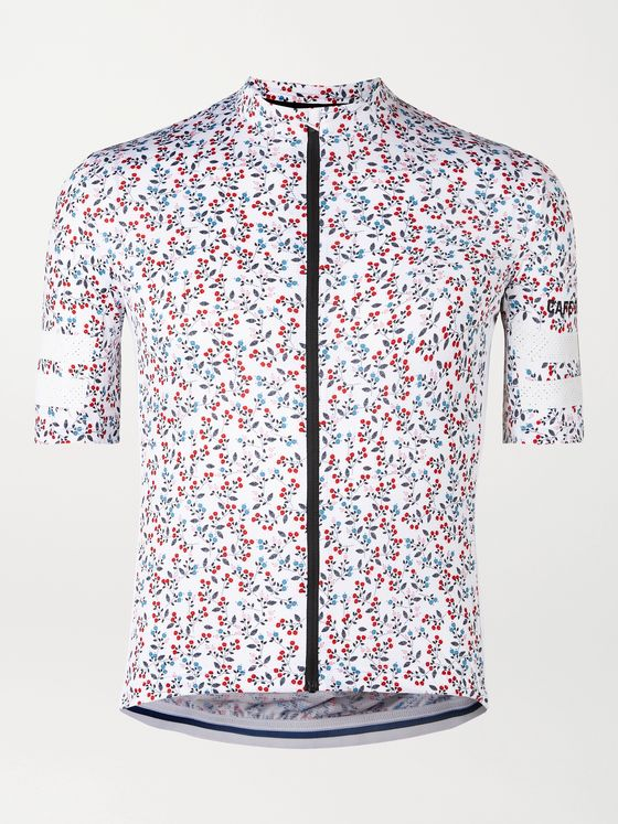 CAFE DU CYCLISTE Floriane Floral-Print Mesh-Trimmed Cycling Jersey