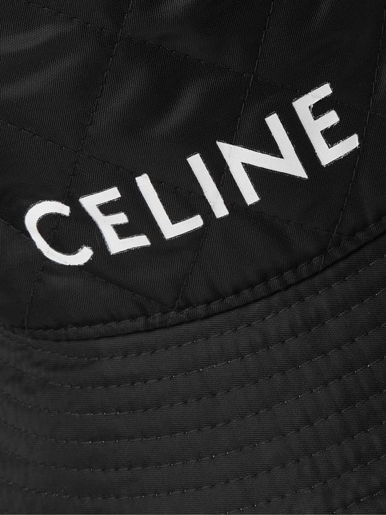 CELINE HOMME Logo-Print Quilted Shell Bucket Hat