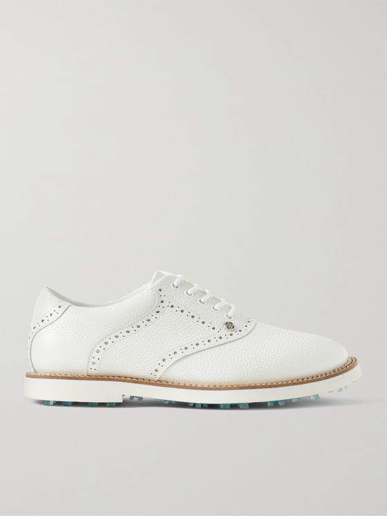 G/FORE Saddle Gallivanter Pebble-Grain Leather Golf Shoes
