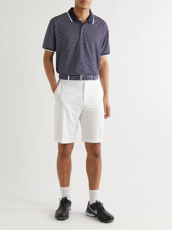 G/FORE Striped Perforated Stretch-Jersey Golf Polo Shirt
