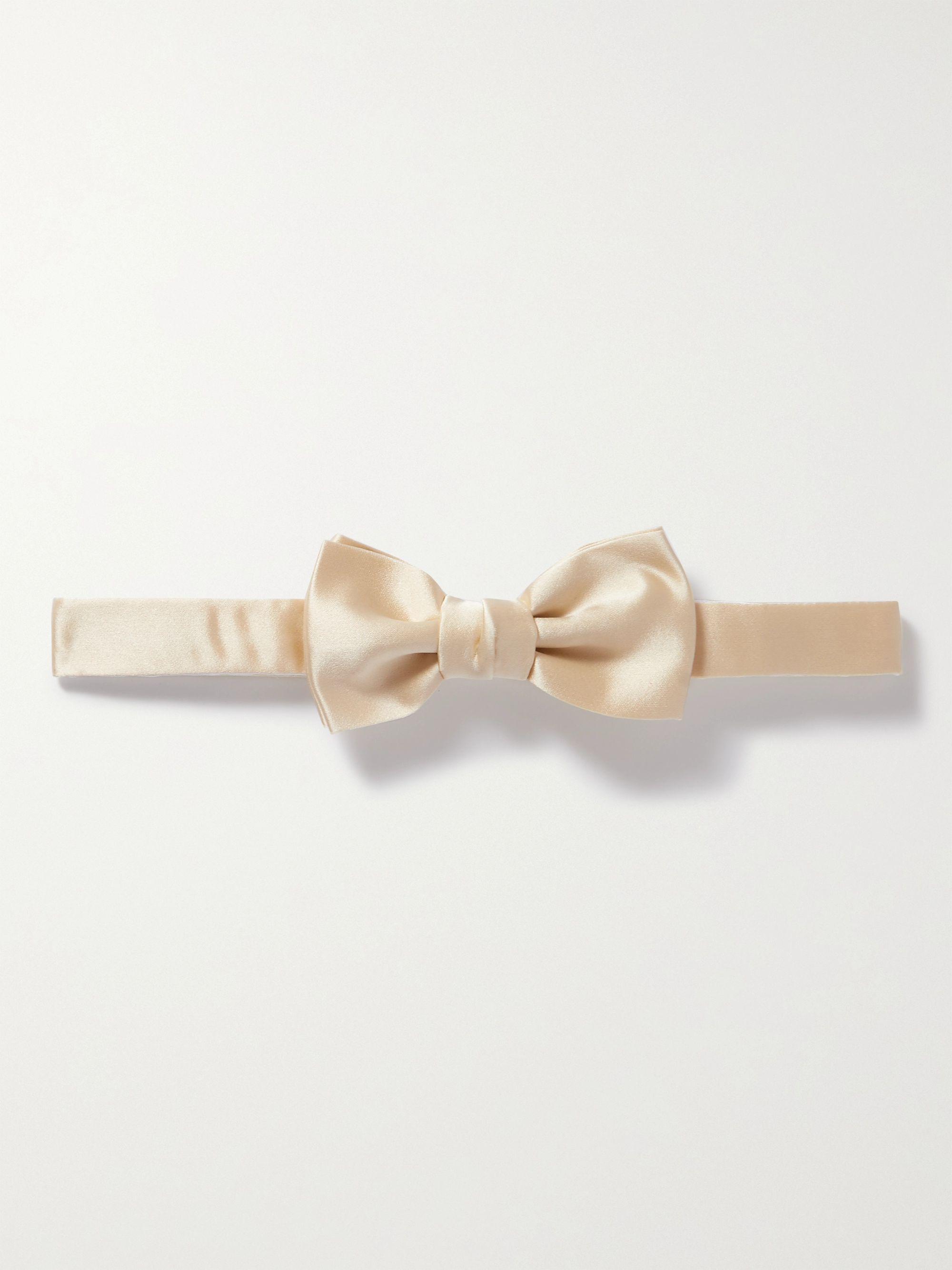 랑방 넥타이 Lanvin Pre-Tied Silk Bow Tie,Cream
