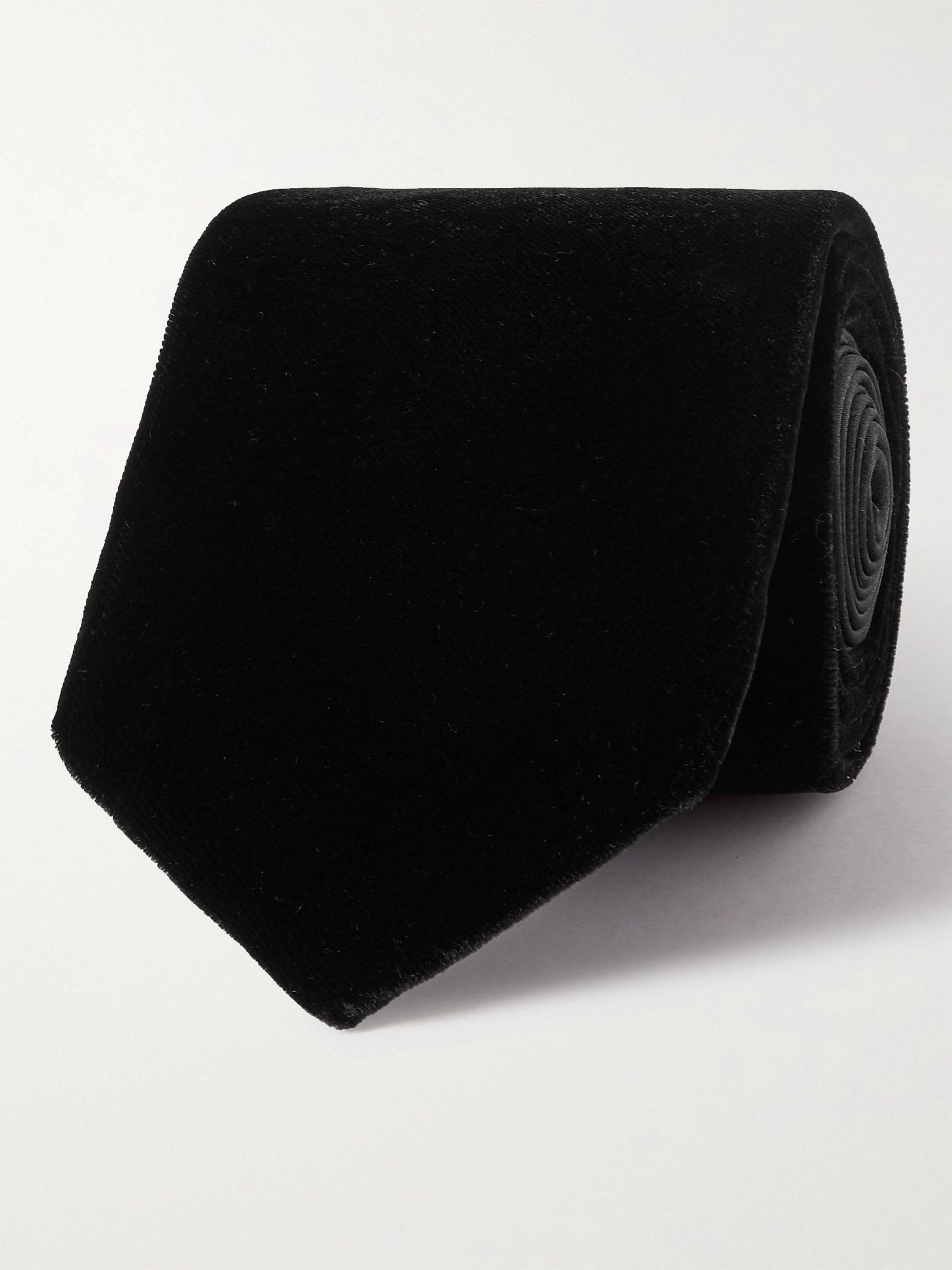 랑방 넥타이 Lanvin 7cm Velvet Tie,Black