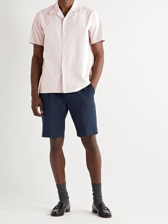 BEAMS F Pleated Striped Cotton-Seersucker Drawstring Shorts