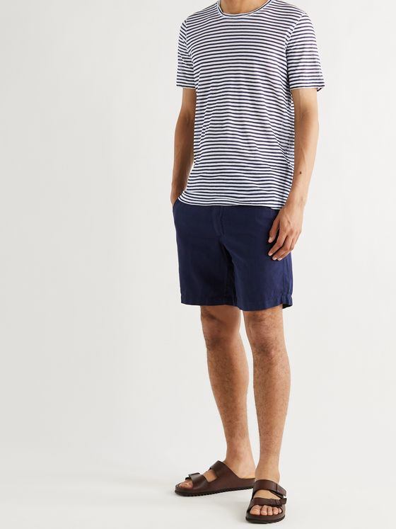 120% Striped Linen-Jersey T-Shirt