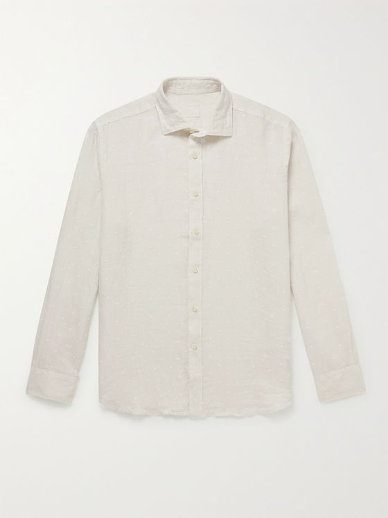 120% Slim-Fit Embroidered Linen Shirt