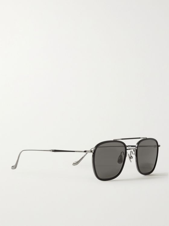 MATSUDA Aviator-Style Ruthenium and Acetate Sunglasses