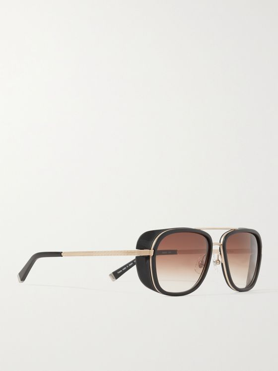 MATSUDA Aviator-Style Acetate and Gold-Tone Titanium Sunglasses
