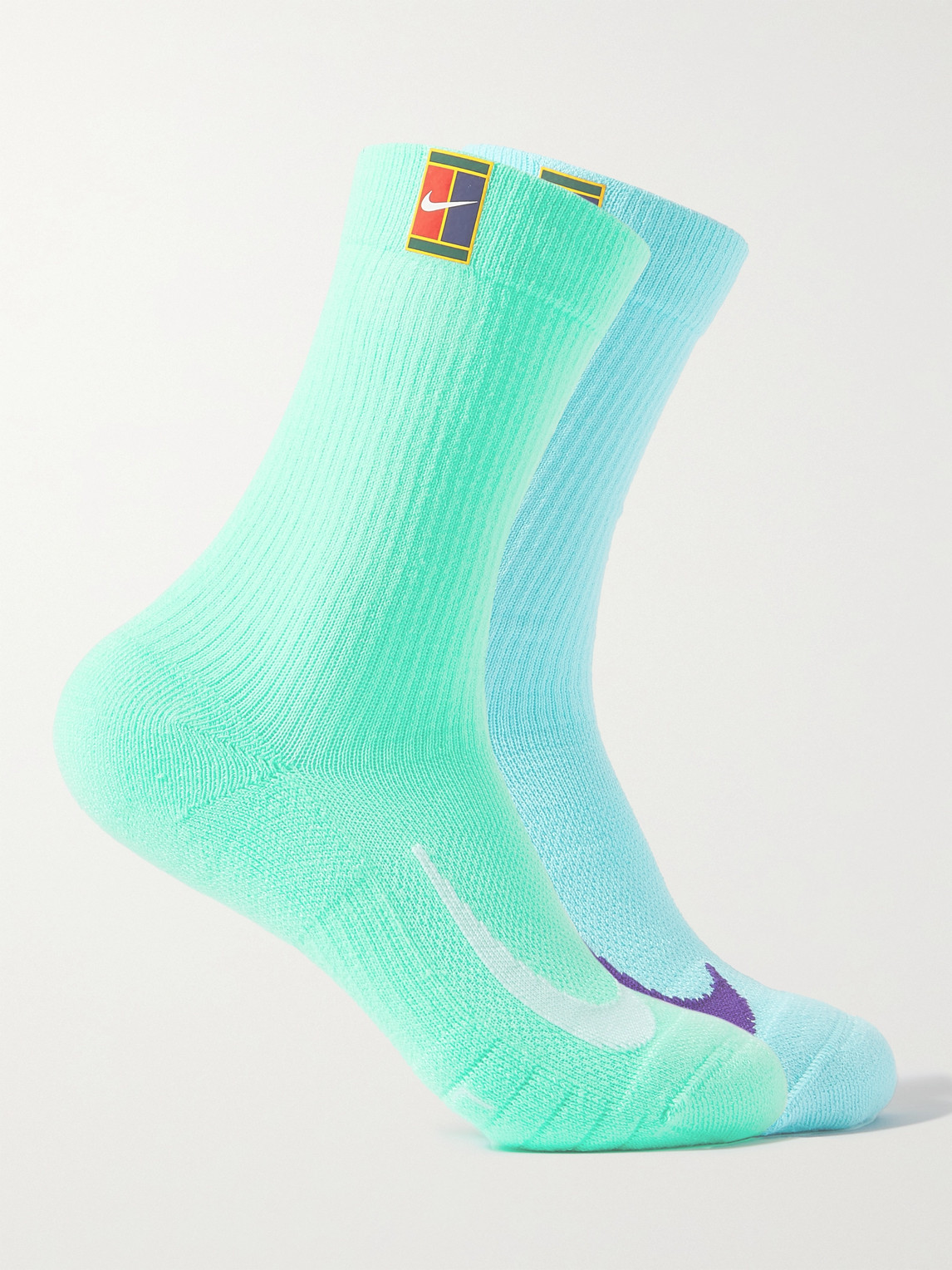 Nike Two-pack Court Multiplier Cushioned Dri-fit Tennis Socks In Green