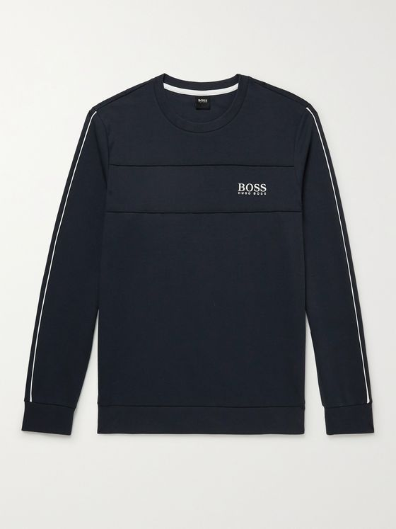 HUGO BOSS Logo-Embroidered Tech Cotton-Blend Jersey Sweatshirt
