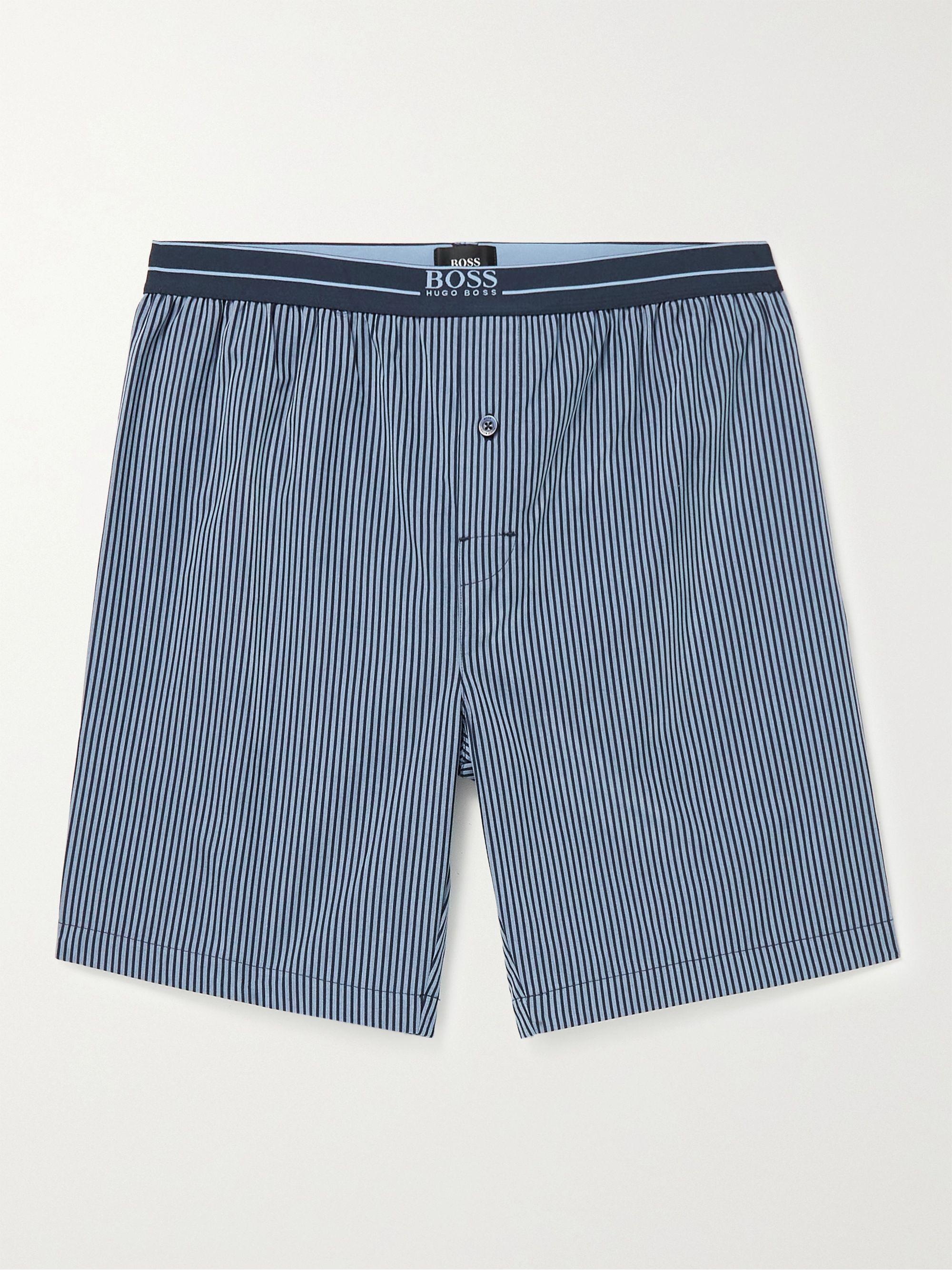 HUGO BOSS Striped Cotton-Poplin Pyjama Shorts