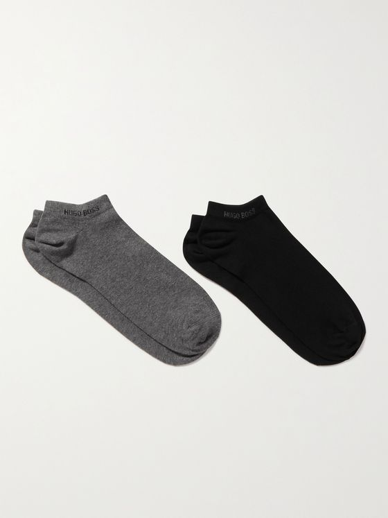 HUGO BOSS Two-Pack Stretch Cotton-Blend No-Show Socks