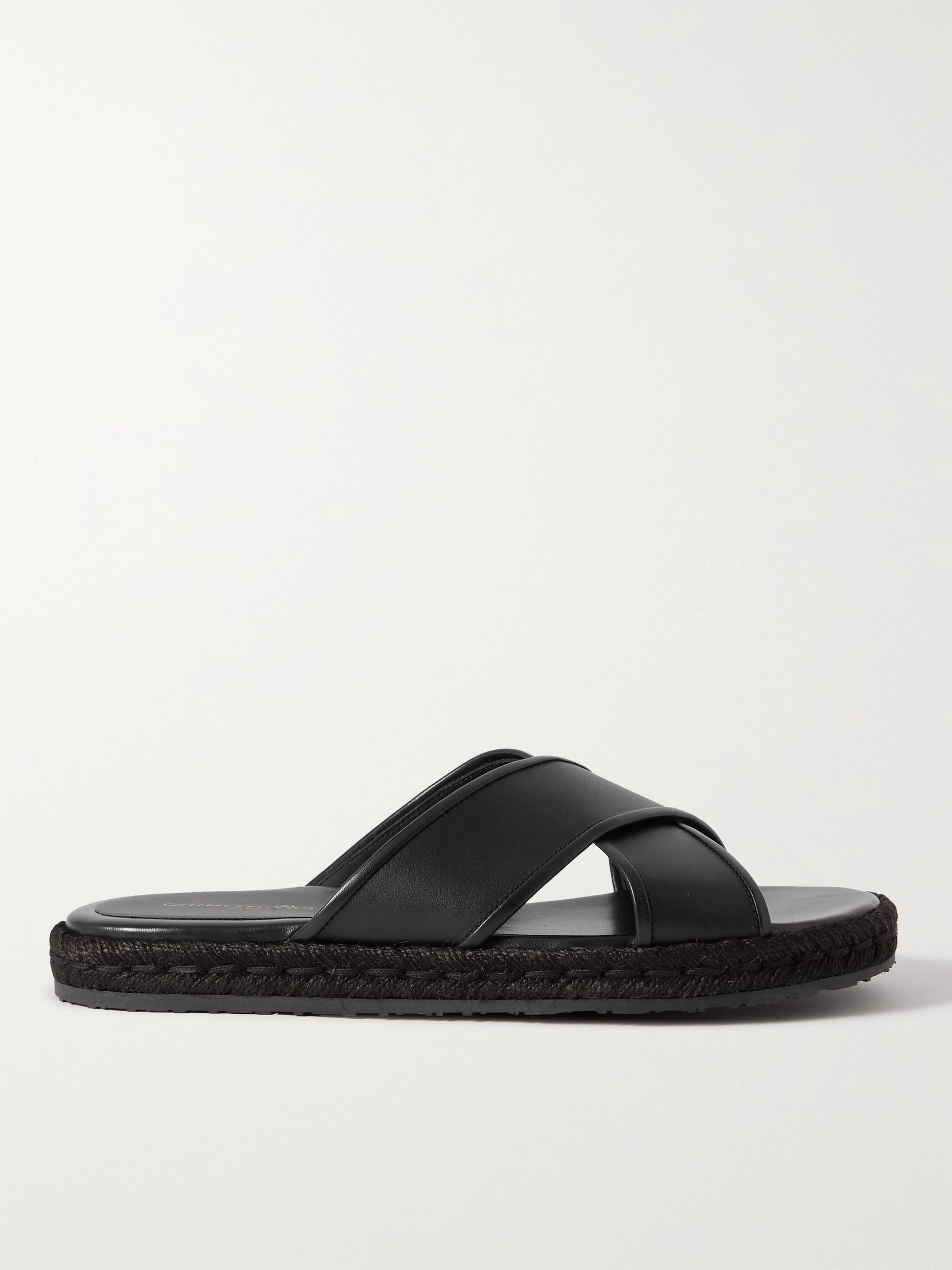 GIANVITO ROSSI Leather Espadrille Slides,Black