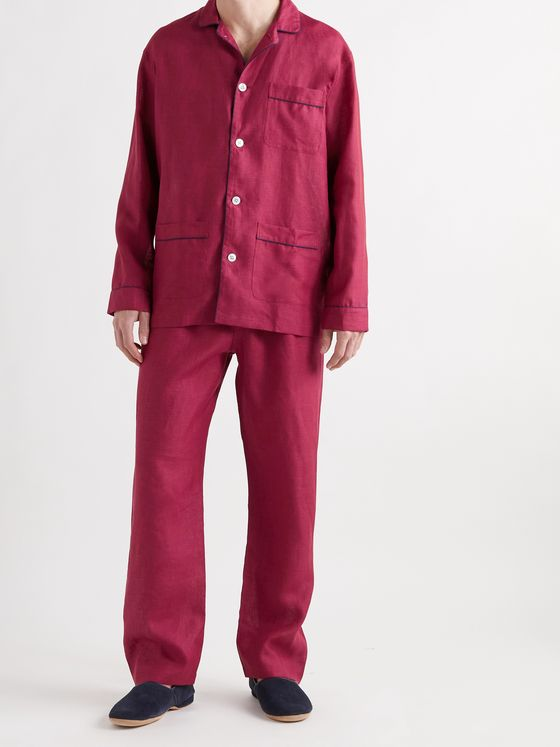 TURNBULL & ASSER Modern Piped Linen Pyjama Set