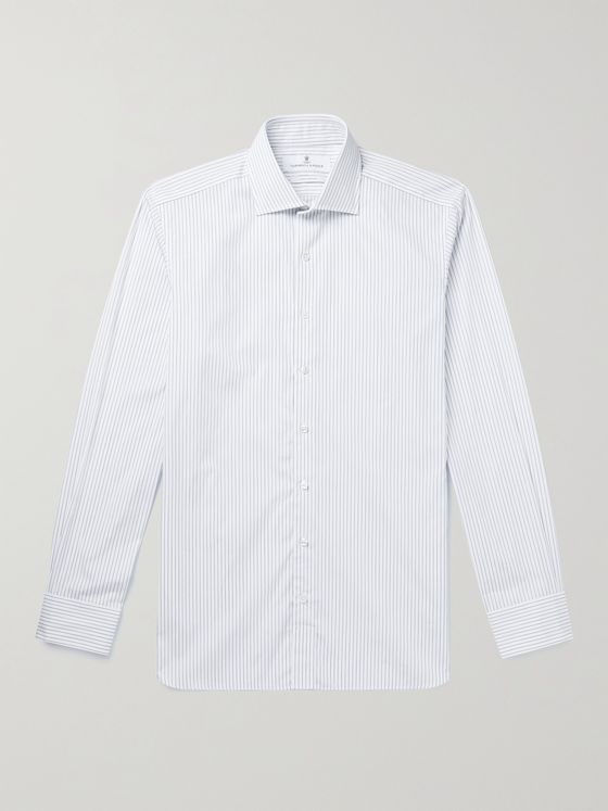 TURNBULL & ASSER Cutaway-Collar Checked Linen Shirt