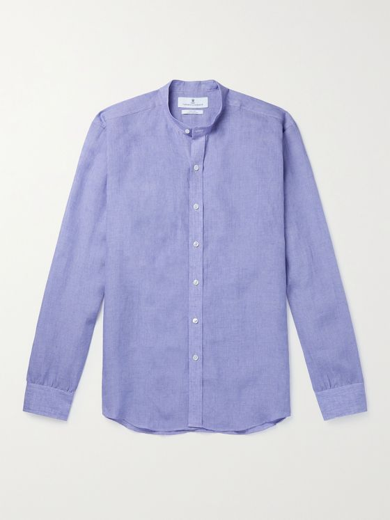 TURNBULL & ASSER Grandad-Collar Linen Shirt