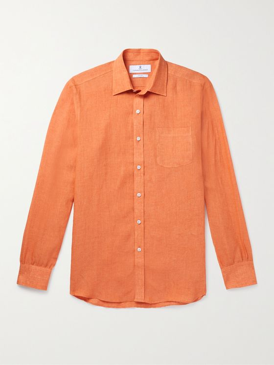 TURNBULL & ASSER Cutaway-Collar Linen Shirt