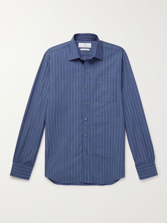 TURNBULL & ASSER Cutaway-Collar Striped Cotton Shirt