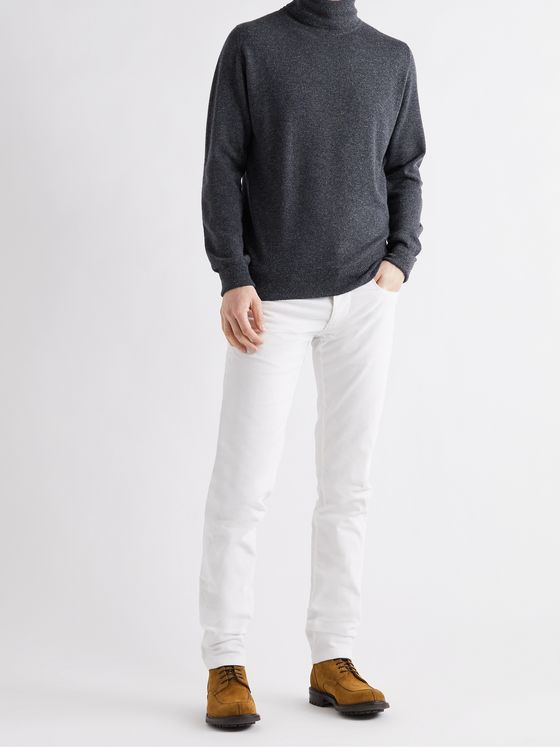 WILLIAM LOCKIE Oxton Mélange Cashmere Rollneck Sweater