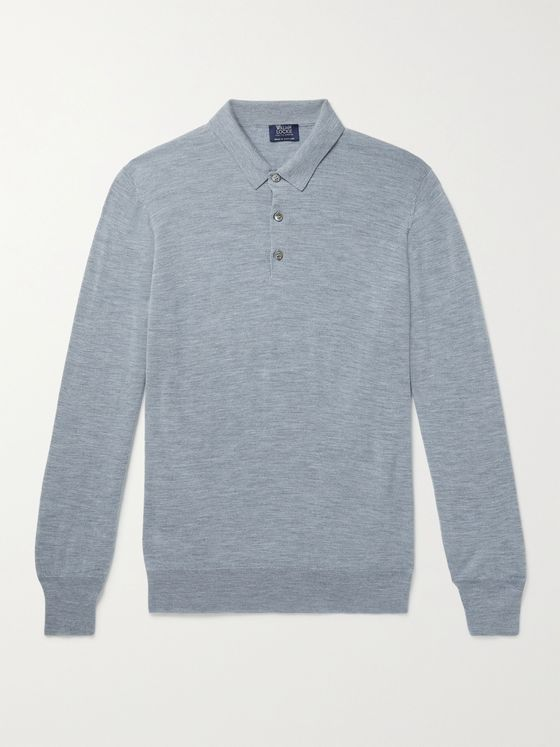 WILLIAM LOCKIE Slim-Fit Mélange Merino Wool Polo Shirt