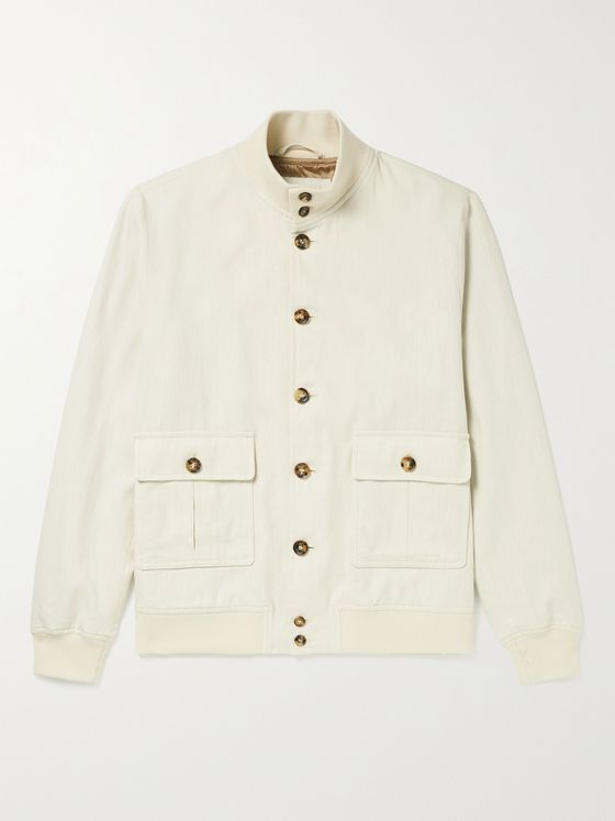 VALSTAR Valstarino Slim-Fit Herringbone Linen and Cotton-Blend Bomber Jacket