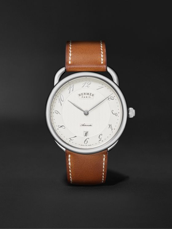 HERMÈS TIMEPIECES Arceau Automatic 40mm Stainless Steel and Leather Watch, Ref. No. 055473WW00