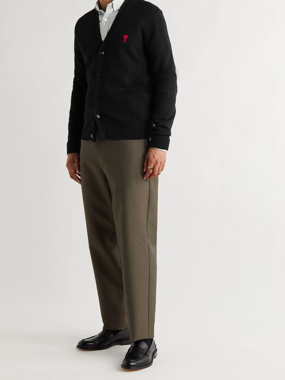 AMI PARIS Slim-Fit Logo-Embroidered Merino Wool Cardigan