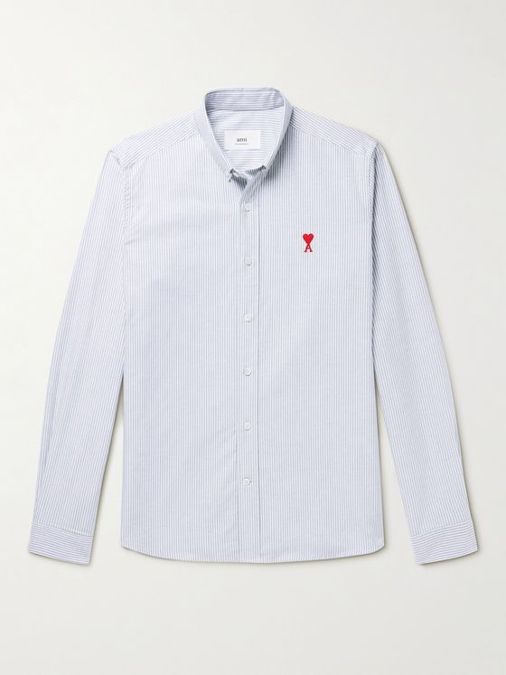 AMI PARIS Button-Down Collar Logo-Embroidered Striped Cotton Shirt