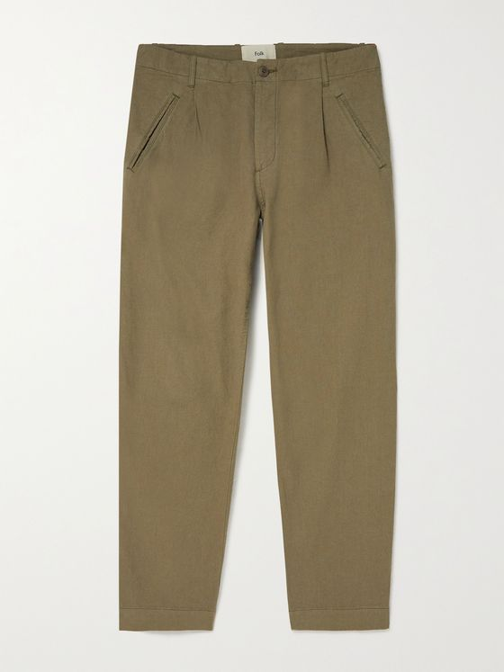 FOLK Assembly Tapered Pleated Linen and Cotton-Blend Trousers