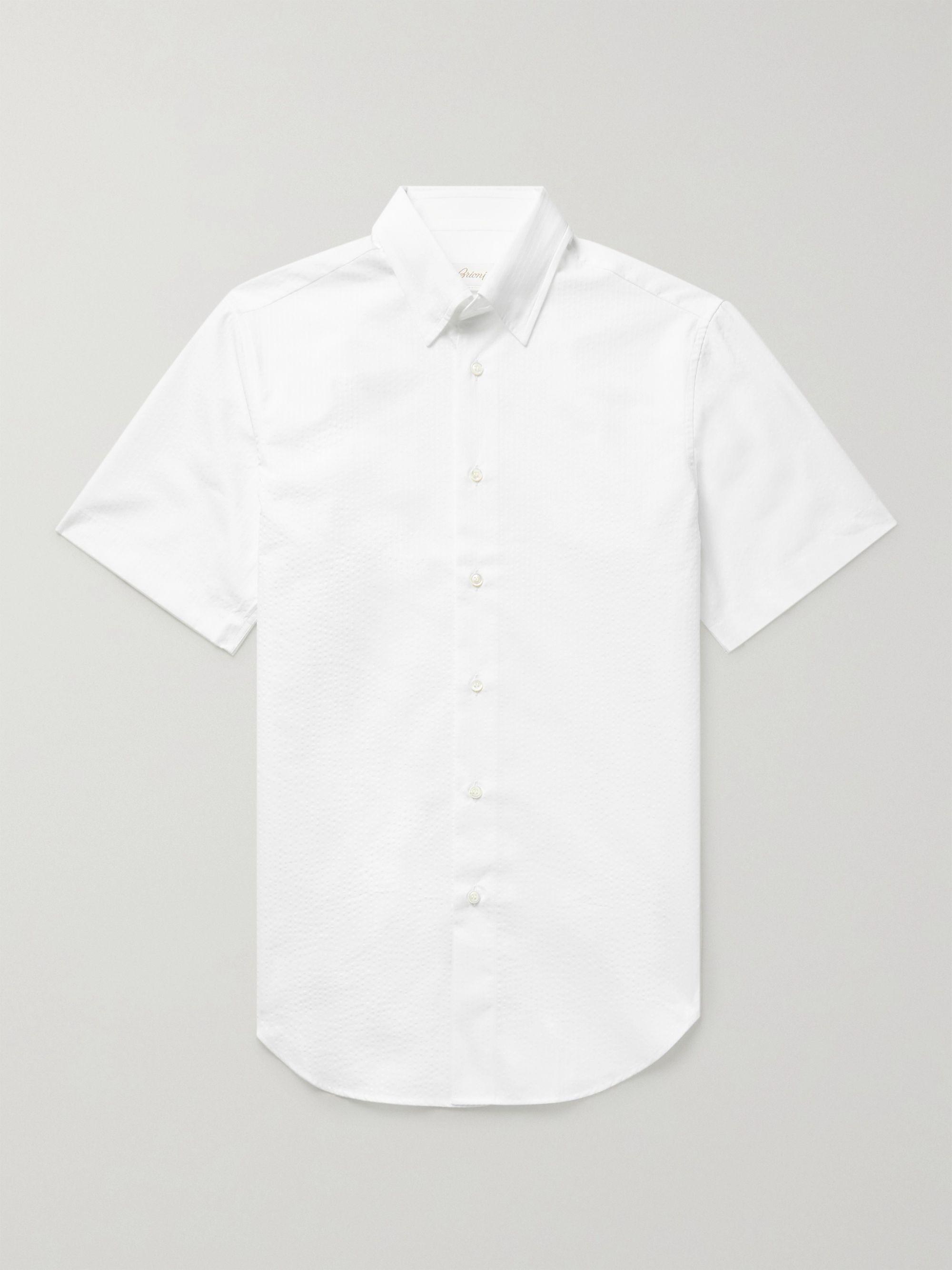 Brioni Cotton-Seersucker Shirt,White