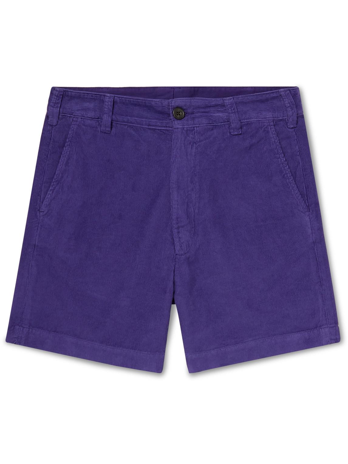Drake's - Slim-Fit Cotton-Corduroy Chino Shorts - Men - Purple - 30