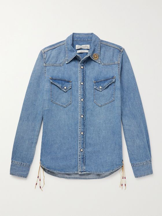 REMI RELIEF Embellished Denim Western Shirt