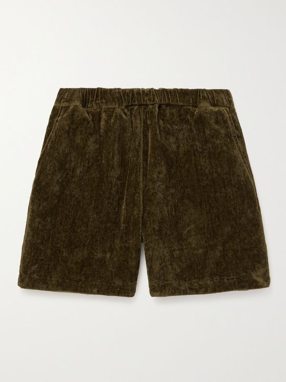REMI RELIEF Reversible Linen and Velour Drawstring Shorts