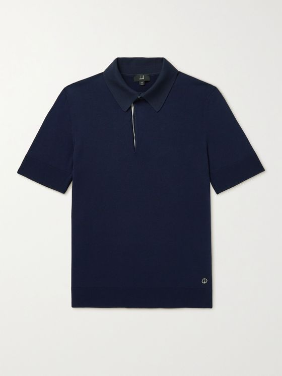 DUNHILL Logo-Appliquéd Mulberry Silk-Trimmed Cotton Polo Shirt