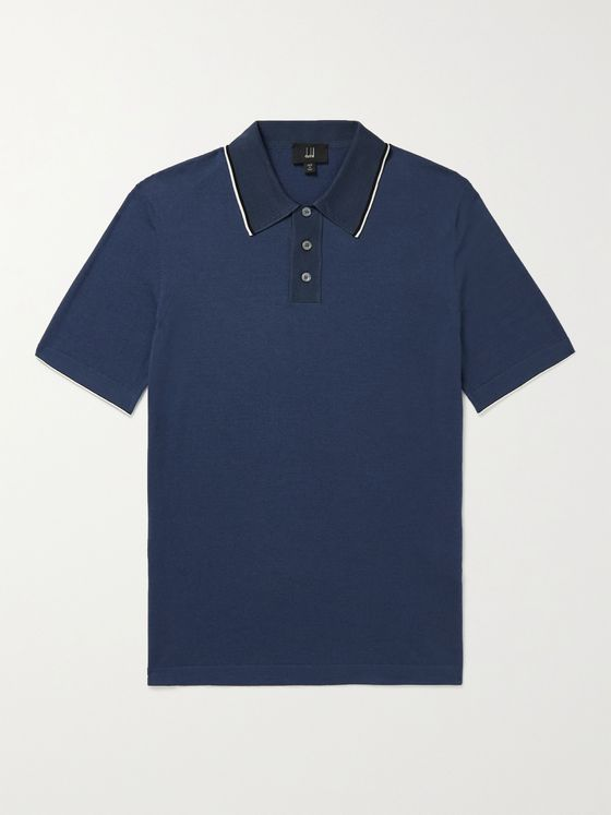DUNHILL Mulberry Silk-Trimmed Cotton Polo Shirt