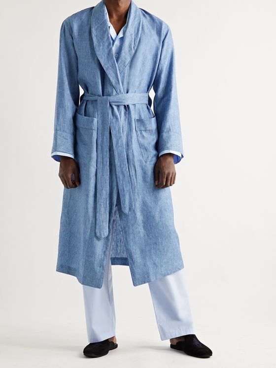 EMMA WILLIS Linen-Chambray Robe