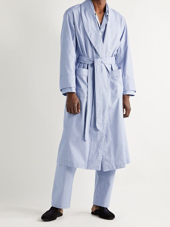 EMMA WILLIS Houndstooth Brushed Cotton-Poplin Robe