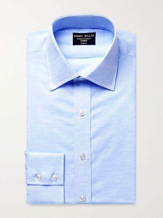 EMMA WILLIS Cutaway-Collar Linen and Cotton-Blend Shirt