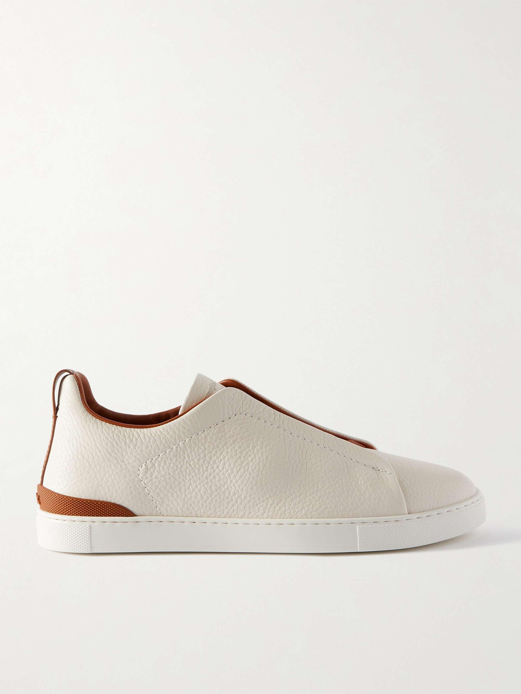 제냐 슬립온 스니커즈, 그레인 가죽 - 화이트 ('갯마을 차차차' 김선호 착용) Zegna Full-Grain Leather Slip-On Sneakers,White