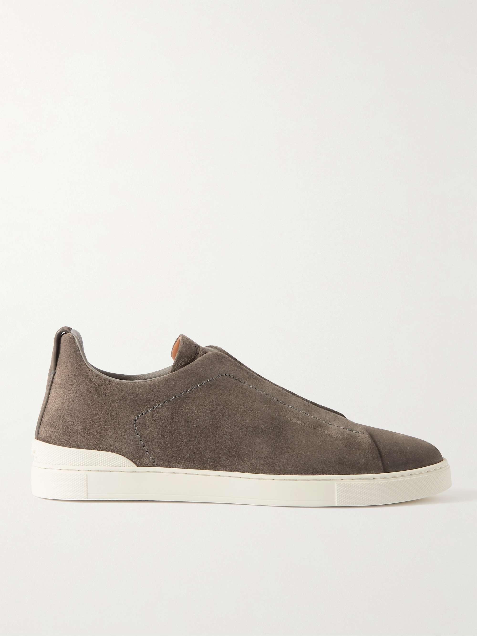제냐 슬립온 스니커즈, 스웨이드 - 그레이 ('갯마을 차차차' 김선호 착용 다른 컬러) Zegna Suede Slip-On Sneakers,Gray